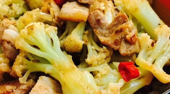 Stir Fry Pork With Cauliflowers