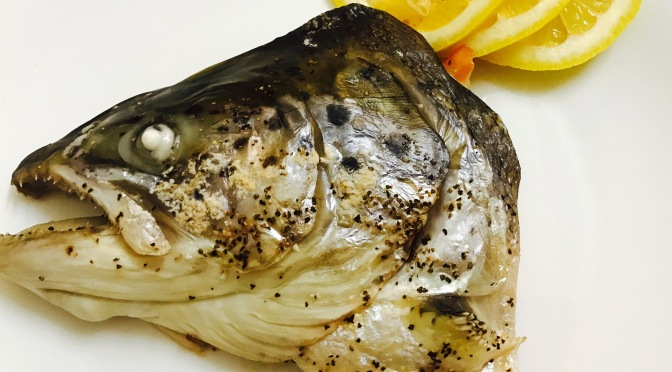 Baked Half Salmon Fish Head