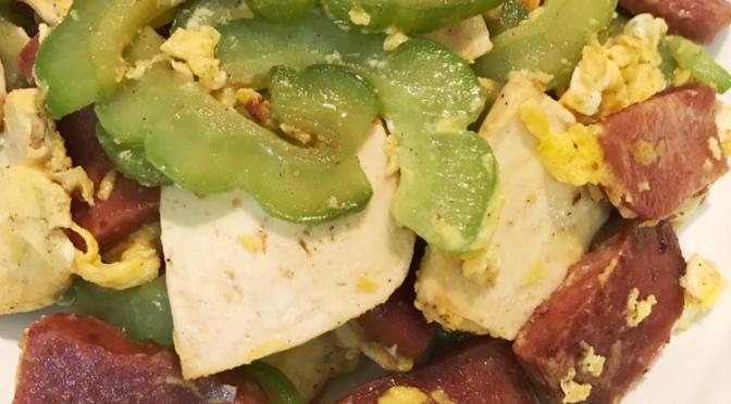 Bittergourd, Luncheon Meat & Tofu Stir-fry