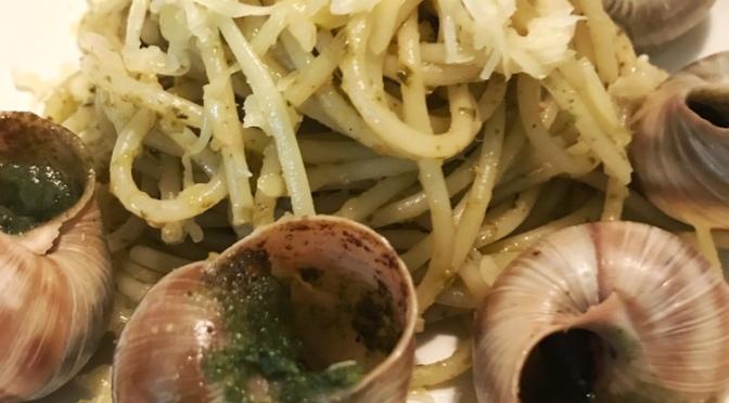 Pesto Pasta with Escargots