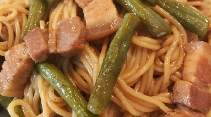 One-pot Long Beans, Pork & Noodles
