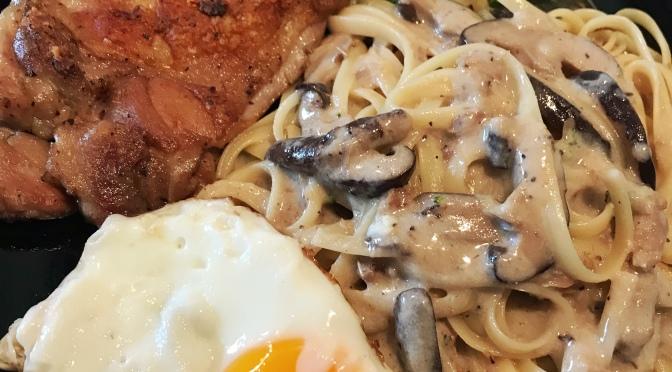 Chicken Chop with Mushroom Sauced Linguine Recipe