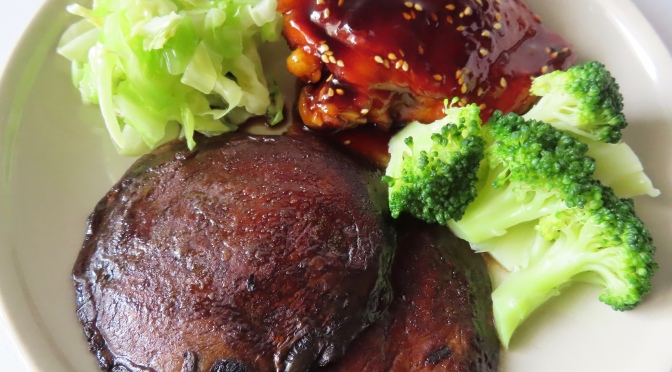Teriyaki Chicken with Pan-Seared Portobello Mushroom