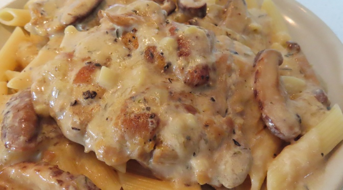 Mushroom Sauced Chicken Chop With Penne