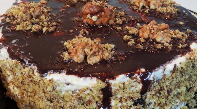 Walnut Cake with Chocolate Glaze